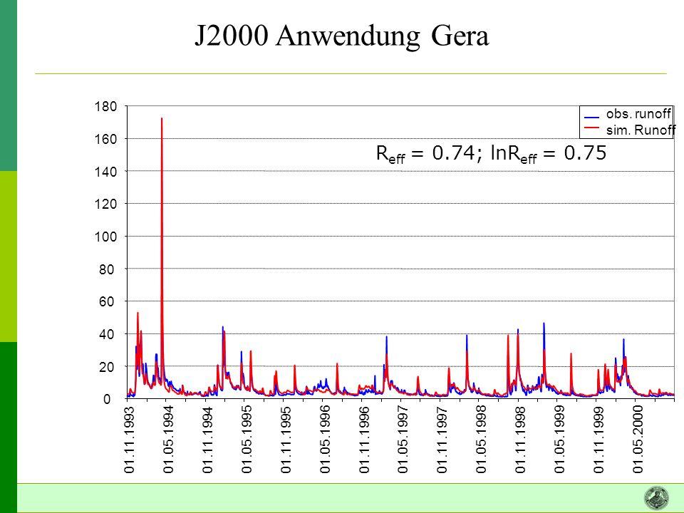 J2000 Anwendung Gera Reff = 0.74; lnReff = 0.75 20 40 60 80 100 120