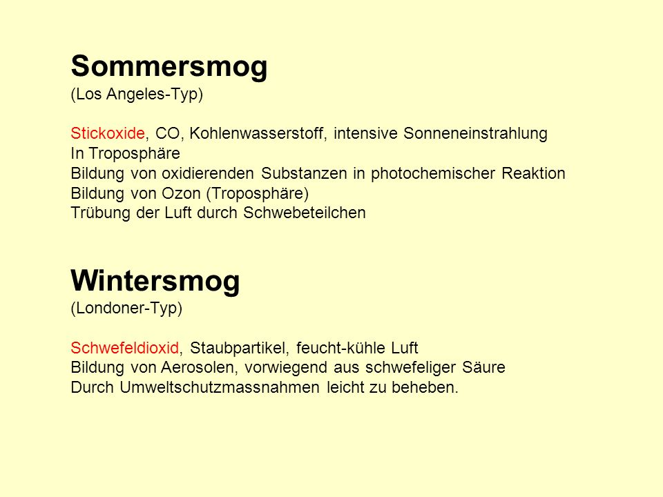 Sommersmog Wintersmog (Los Angeles-Typ)