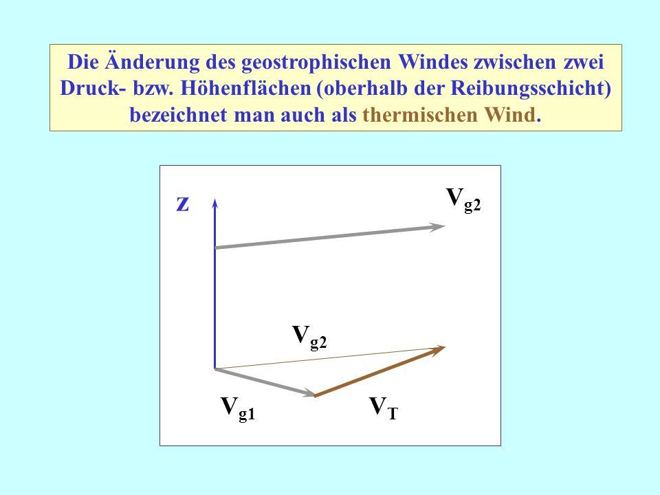 Die Änderung des geostrophischen Windes zwischen zwei Druck- bzw