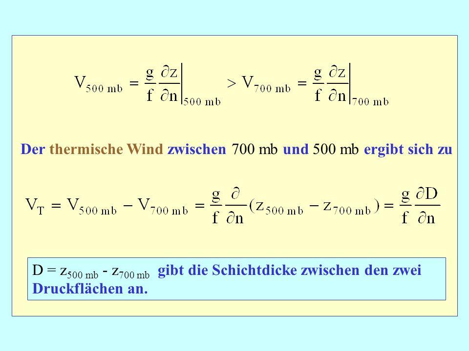 Der thermische Wind zwischen 700 mb und 500 mb ergibt sich zu