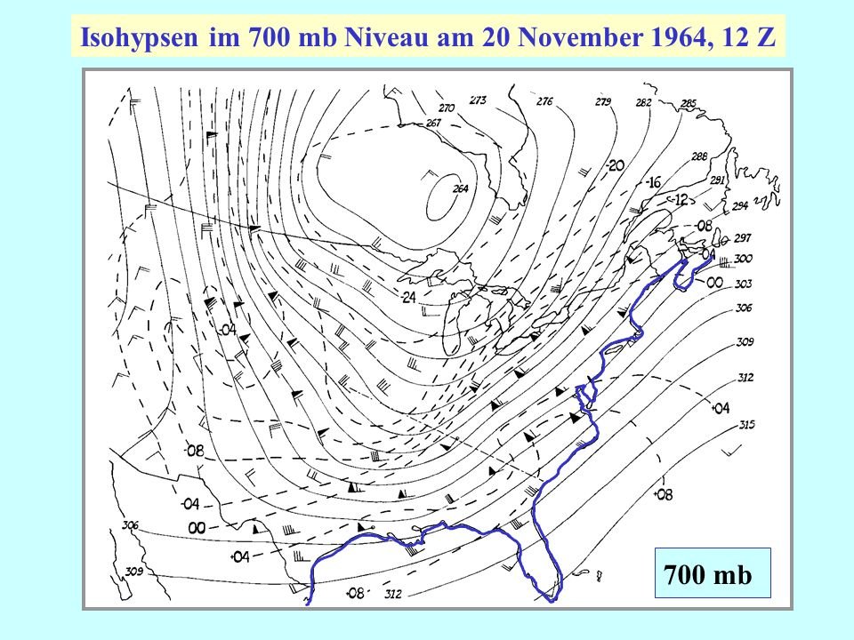 Isohypsen im 700 mb Niveau am 20 November 1964, 12 Z