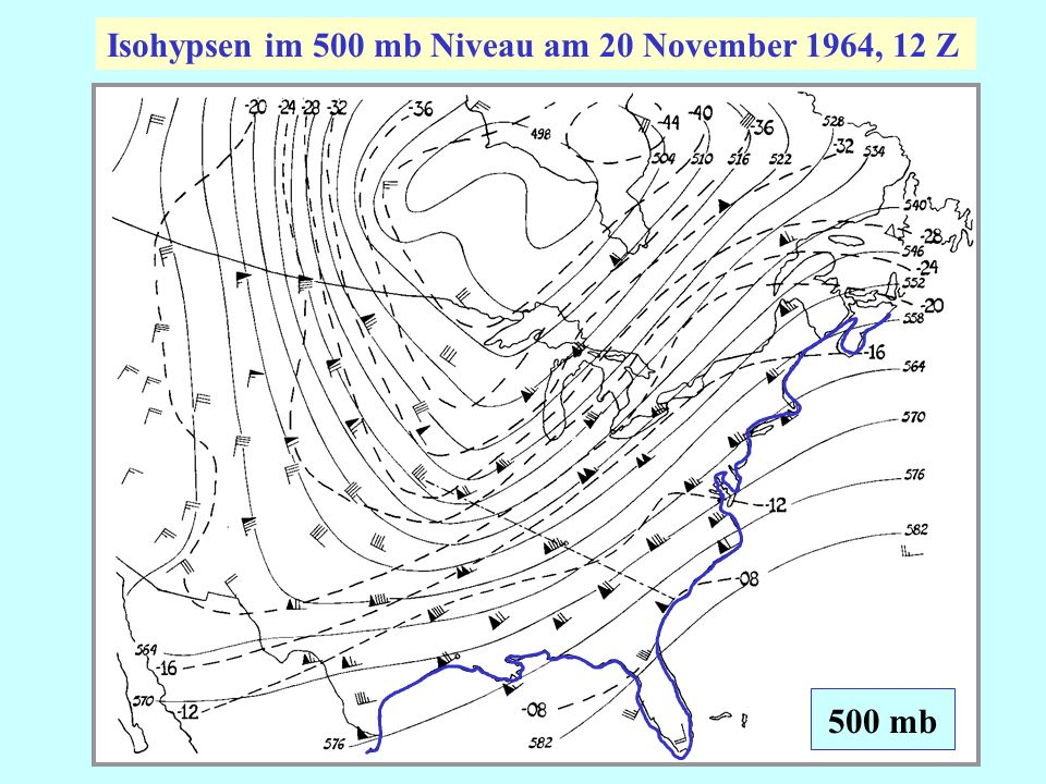 Isohypsen im 500 mb Niveau am 20 November 1964, 12 Z