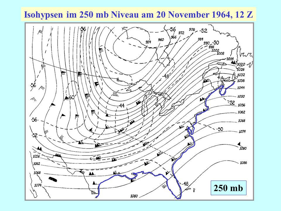 Isohypsen im 250 mb Niveau am 20 November 1964, 12 Z