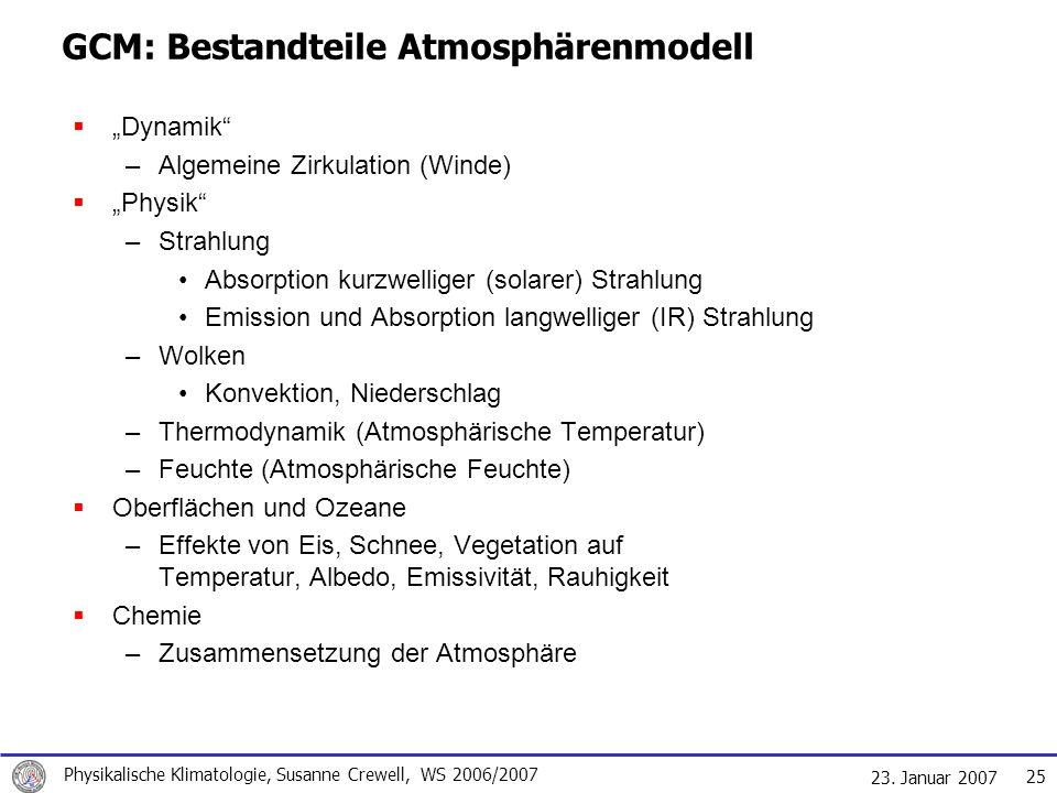 GCM: Bestandteile Atmosphärenmodell