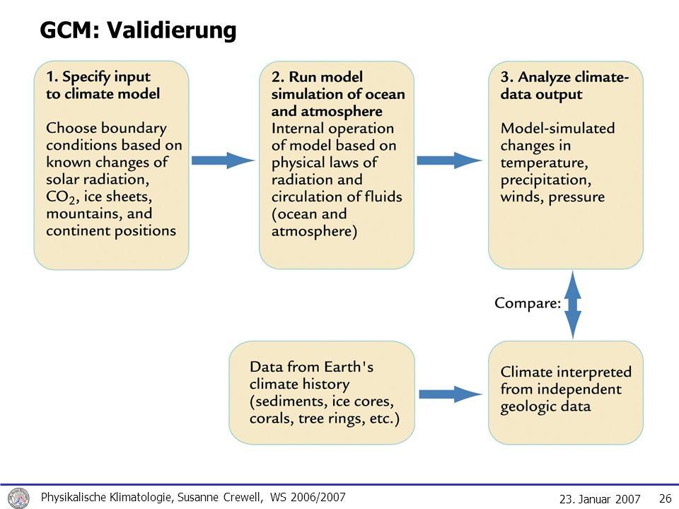 GCM: Validierung Physikalische Klimatologie, Susanne Crewell, WS 2006/2007