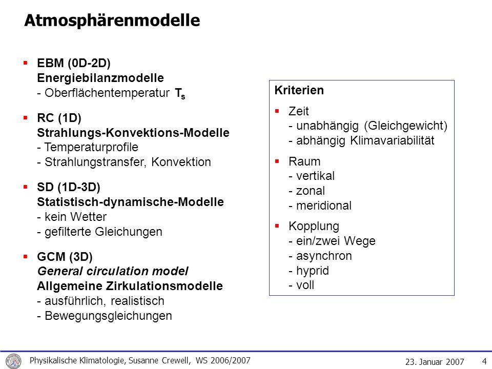 Atmosphärenmodelle EBM (0D-2D) Energiebilanzmodelle - Oberflächentemperatur Ts.