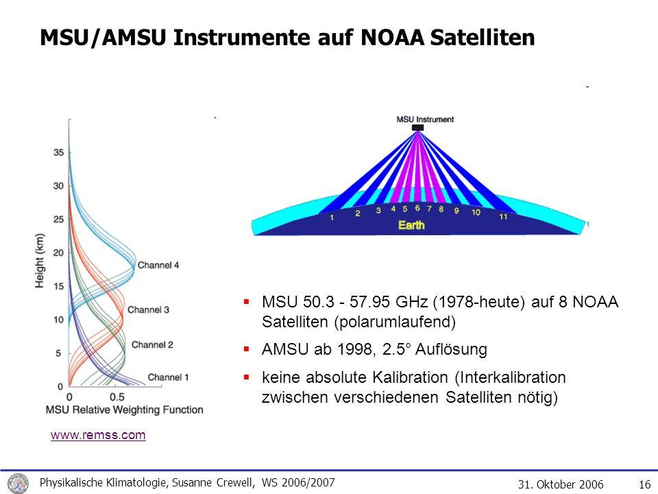 MSU/AMSU Instrumente auf NOAA Satelliten