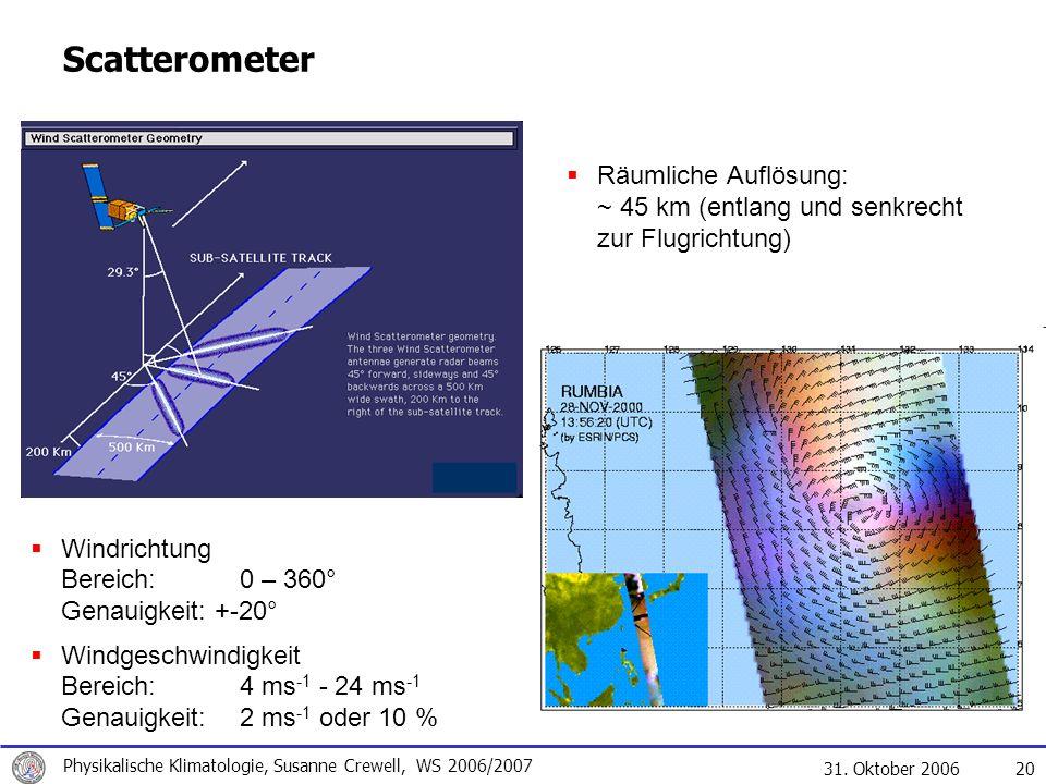 Scatterometer Räumliche Auflösung: ~ 45 km (entlang und senkrecht zur Flugrichtung) Windrichtung Bereich: 0 – 360° Genauigkeit: +-20°
