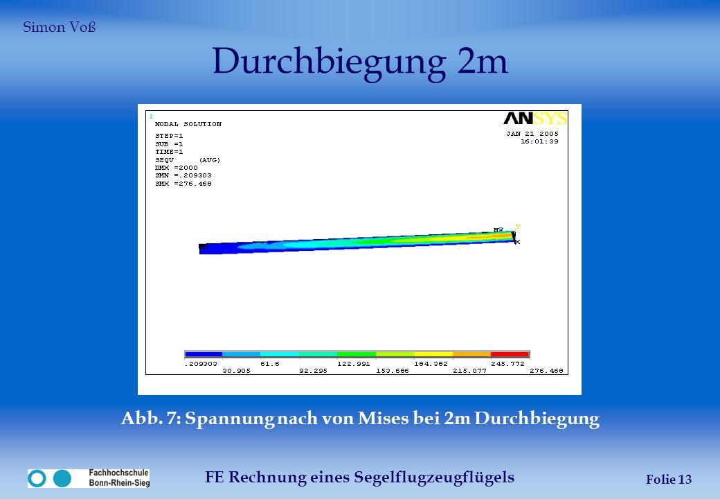 Durchbiegung 2m Abb. 7: Spannung nach von Mises bei 2m Durchbiegung