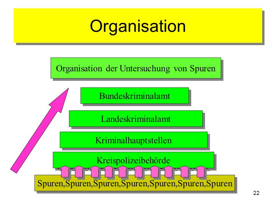 Organisation Organisation der Untersuchung von Spuren