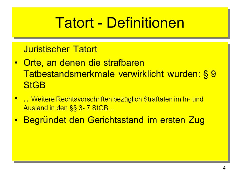 Tatort - Definitionen Juristischer Tatort