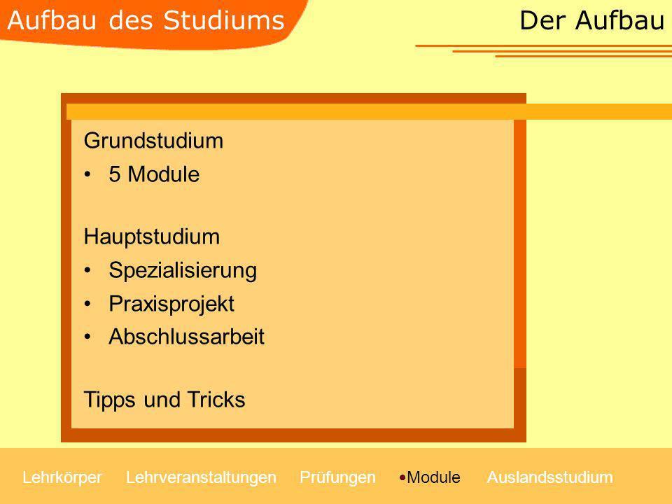 Aufbau des Studiums Der Aufbau Grundstudium 5 Module Hauptstudium