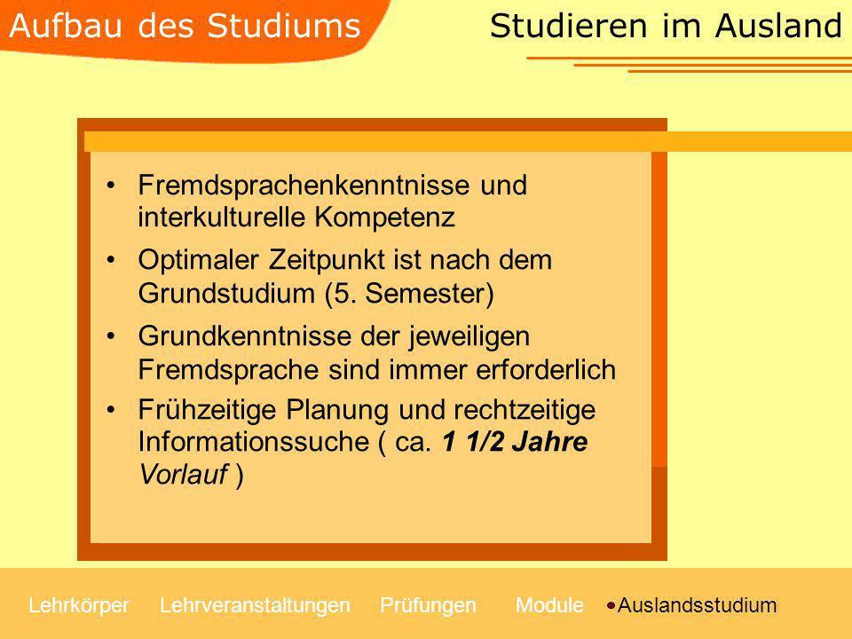 Aufbau des Studiums Studieren im Ausland