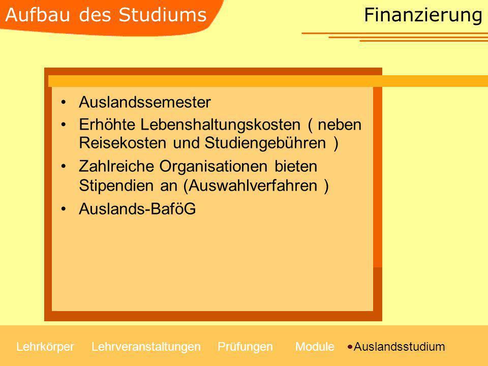 Aufbau des Studiums Finanzierung Auslandssemester