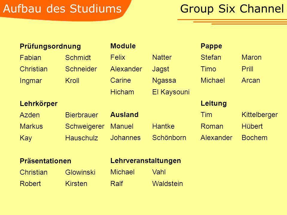 Aufbau des Studiums Group Six Channel Prüfungsordnung Fabian Schmidt