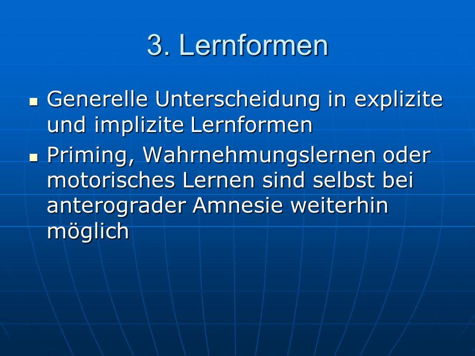 3. Lernformen Generelle Unterscheidung in explizite und implizite Lernformen.