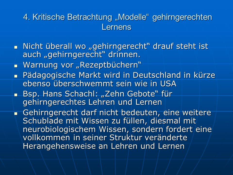 """4. Kritische Betrachtung """"Modelle gehirngerechten Lernens"""