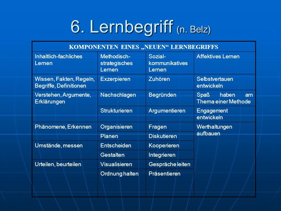"""KOMPONENTEN EINES """"NEUEN LERNBEGRIFFS"""