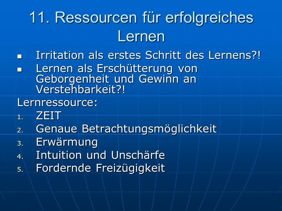11. Ressourcen für erfolgreiches Lernen