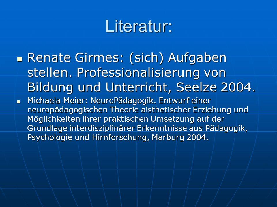 Literatur: Renate Girmes: (sich) Aufgaben stellen. Professionalisierung von Bildung und Unterricht, Seelze 2004.