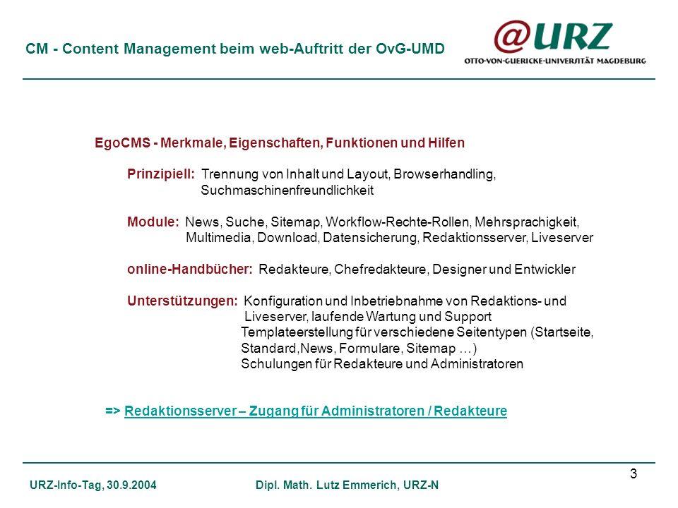 CM - Content Management beim web-Auftritt der OvG-UMD