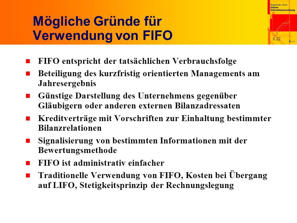 Mögliche Gründe für Verwendung von FIFO