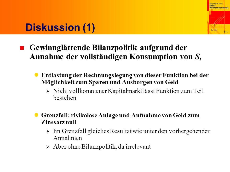 Diskussion (1) Gewinnglättende Bilanzpolitik aufgrund der Annahme der vollständigen Konsumption von St.