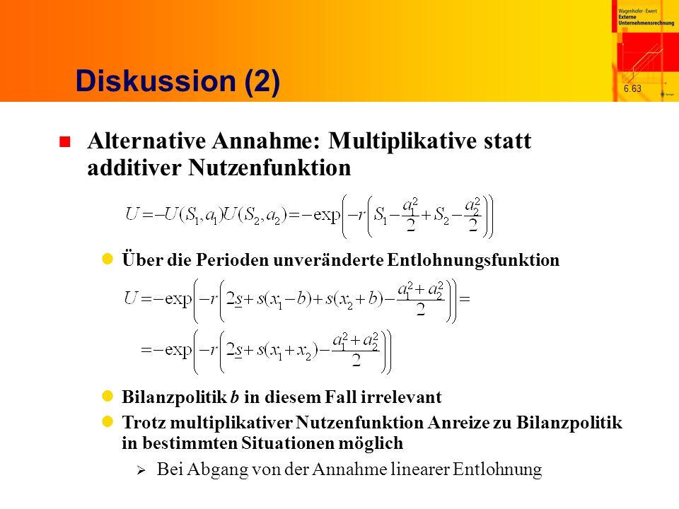 Diskussion (2) Alternative Annahme: Multiplikative statt additiver Nutzenfunktion. Über die Perioden unveränderte Entlohnungsfunktion.