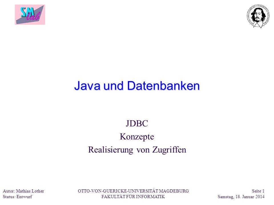 JDBC Konzepte Realisierung von Zugriffen