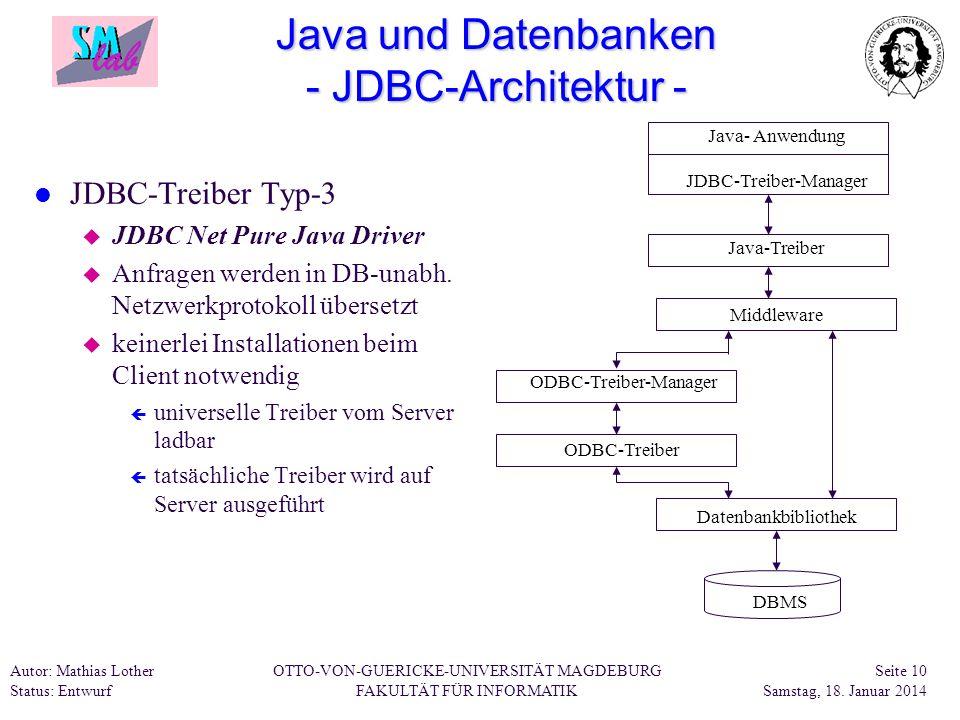 Java und Datenbanken - JDBC-Architektur -