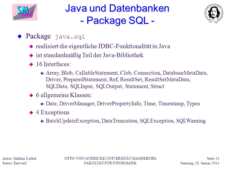 Java und Datenbanken - Package SQL -