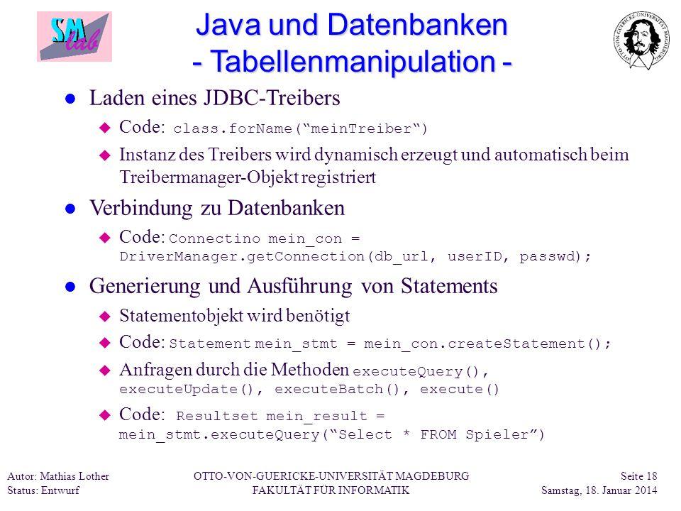 Java und Datenbanken - Tabellenmanipulation -