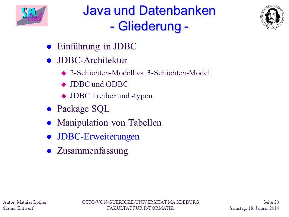 Java und Datenbanken - Gliederung -
