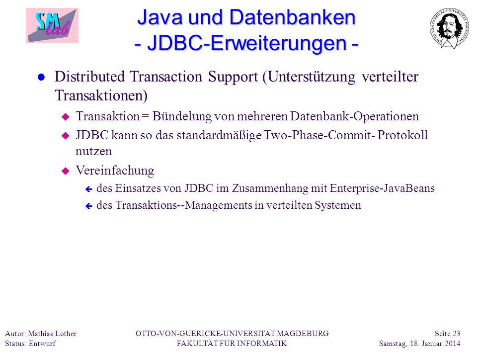 Java und Datenbanken - JDBC-Erweiterungen -