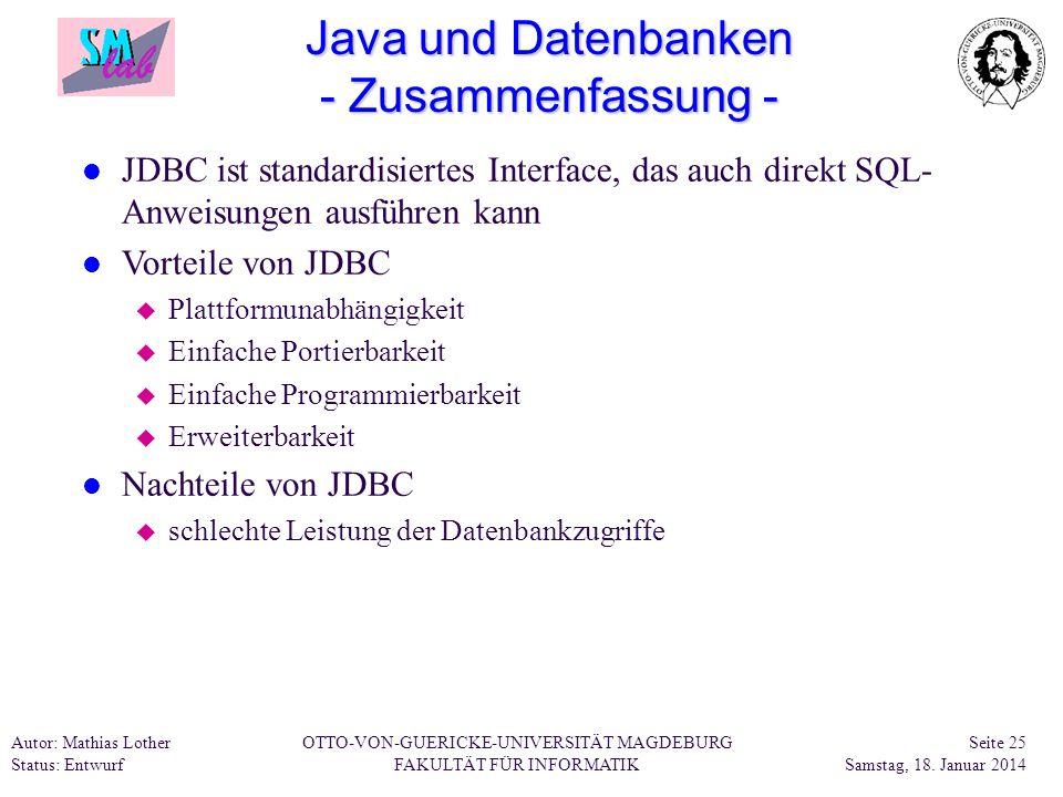 Java und Datenbanken - Zusammenfassung -
