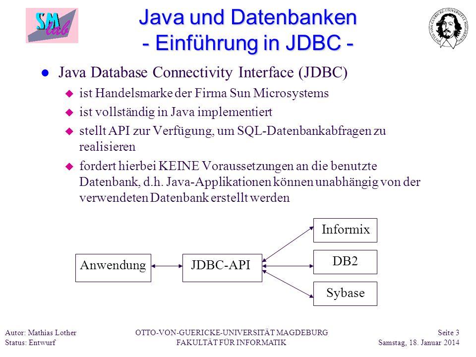 Java und Datenbanken - Einführung in JDBC -