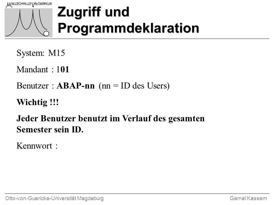 Zugriff und Programmdeklaration