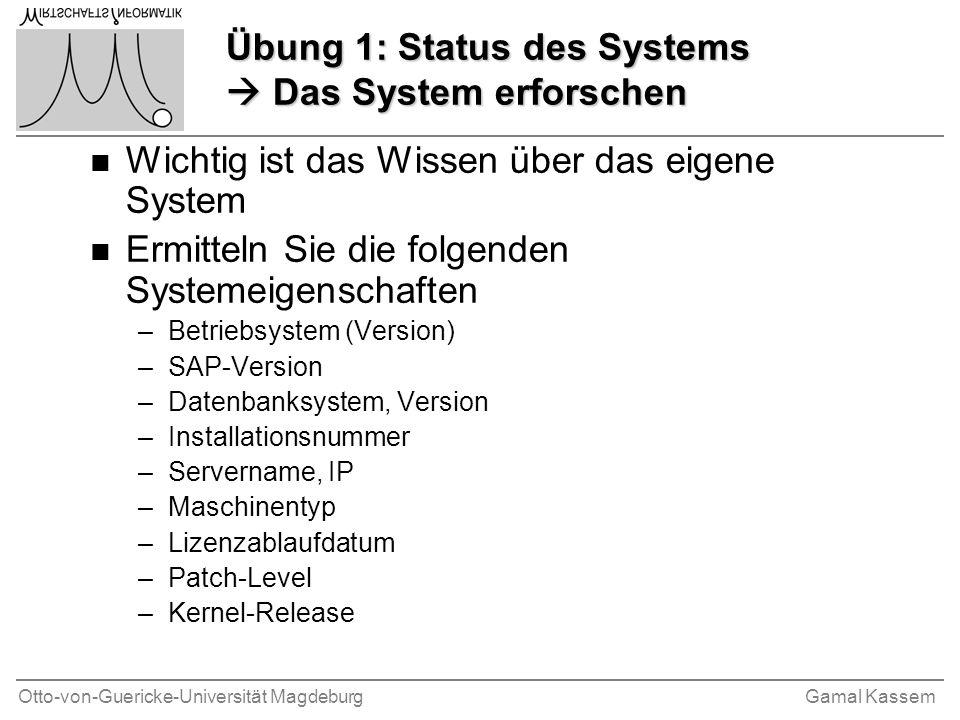 Übung 1: Status des Systems  Das System erforschen