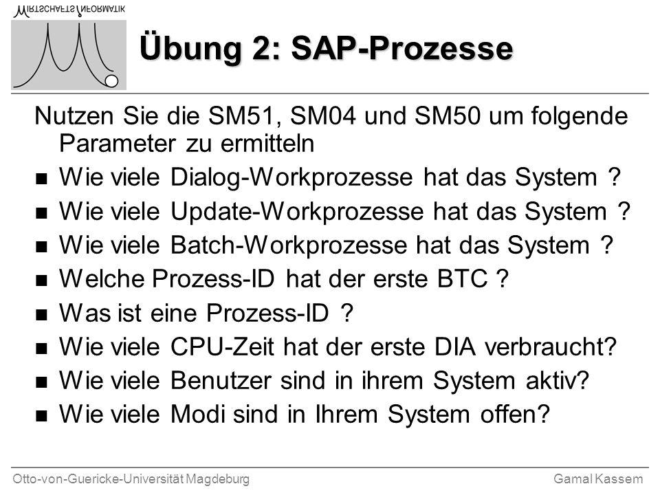 Übung 2: SAP-Prozesse Nutzen Sie die SM51, SM04 und SM50 um folgende Parameter zu ermitteln. Wie viele Dialog-Workprozesse hat das System