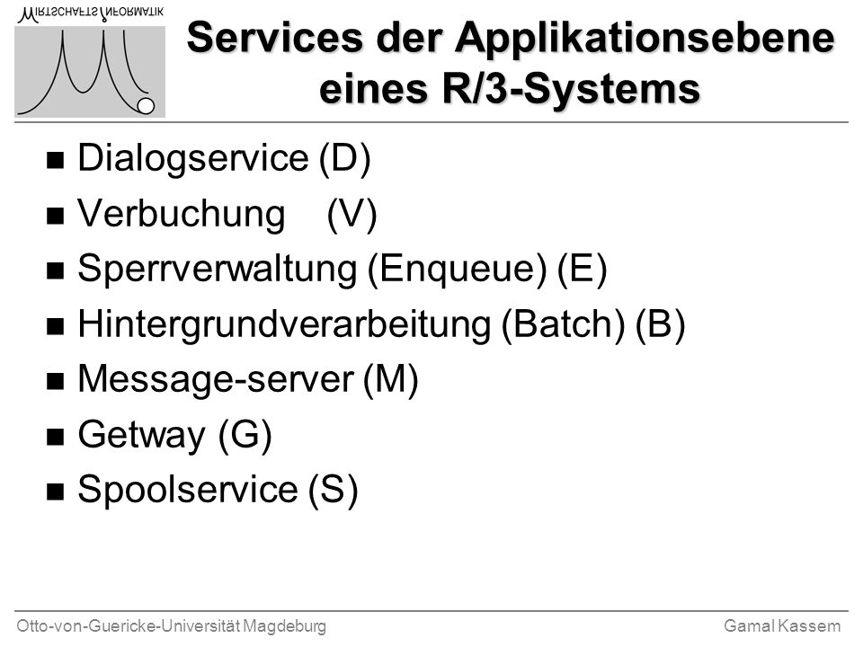Services der Applikationsebene eines R/3-Systems