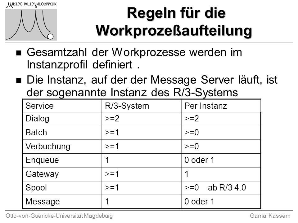Regeln für die Workprozeßaufteilung