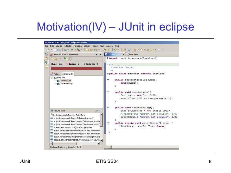 Motivation(IV) – JUnit in eclipse