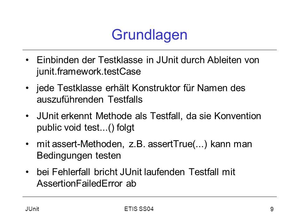 Grundlagen Einbinden der Testklasse in JUnit durch Ableiten von junit.framework.testCase.
