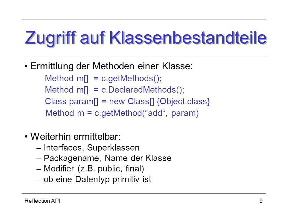 Zugriff auf Klassenbestandteile