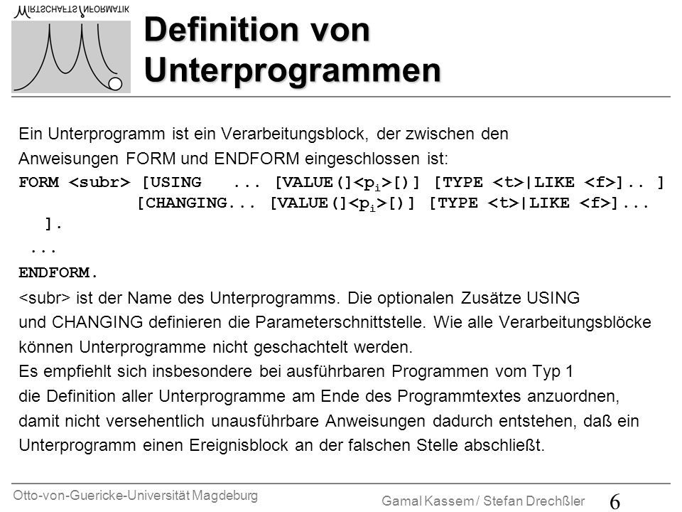 Definition von Unterprogrammen