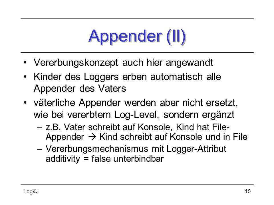 Appender (II) Vererbungskonzept auch hier angewandt