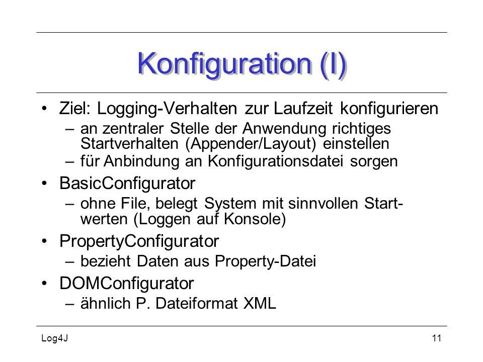 Konfiguration (I) Ziel: Logging-Verhalten zur Laufzeit konfigurieren