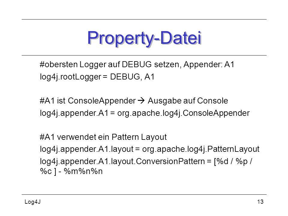 Property-Datei #obersten Logger auf DEBUG setzen, Appender: A1