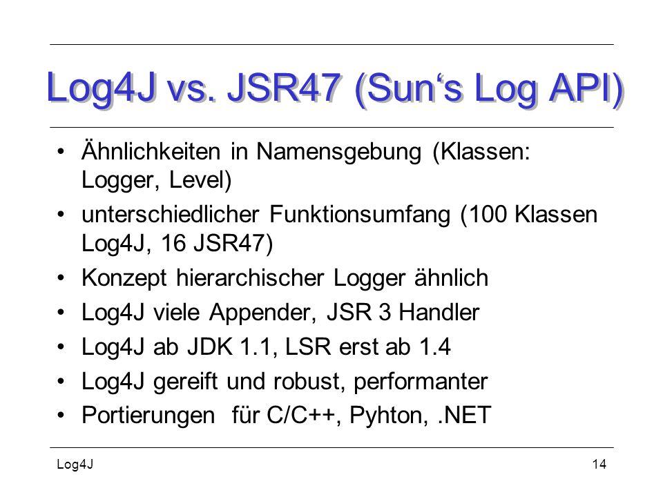 Log4J vs. JSR47 (Sun's Log API)