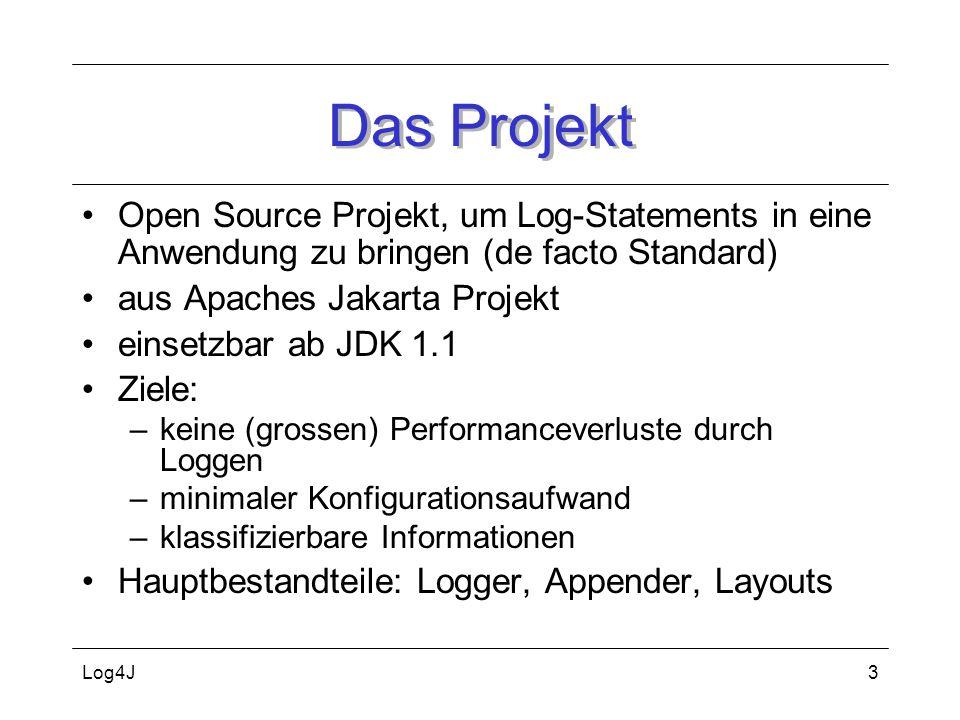 Das Projekt Open Source Projekt, um Log-Statements in eine Anwendung zu bringen (de facto Standard)